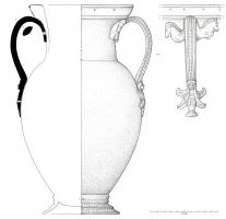 AMF-2003 - *  Greek amphora&#013&#013*  Belly amphora ovoid , cylindrical neck was wide open and lip thickened ;  ATTACHED under the edge and top of the body , two handles coulees with superior shaped clips protomes horse and was basically a siren or harpy ;  piedouche molding.