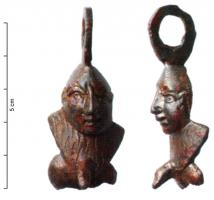 AMP-4014 - Amulet : phallic&#013&#013 *  Amulet of male genitals at rest , and above the pubis, whose locks are specified , appears a bald head Nubian ; cross ring also sank.