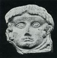 ANT-4007 -  *  Antefissa : Testa maschio&#013 *  Antefix molded ornate facade of a male head, without palmette around .