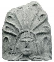 ANT-4011 -  *  Antefissa : Palm 7 rami sulla testa&#013 *  Antefix molded representative façade a more or less schematic head, from which emerge a simplified palm leaf branches butts sides .