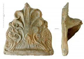 ANT-4028 -  *  Antefix : Palm 7 branches&#013 *  Antefix approached palm leaf shaped flowers on each side.