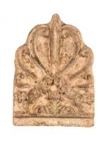 ANT-4029 -  *  Antefix : palmette on ibex&#013 *  Antefix shaped palmette supported by two ibex faced.