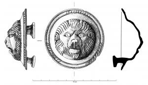 APH-4143 - Harness appliqué, lion head&#013&#013 *  Applies cpulée hollow reverse with three buttons for attachment to leather lion head placed on a guilloche collar .