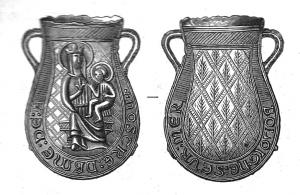 APL-9023 -  *  Lampadina pellegrinaggio ND Boulogne&#013 *  Bulb -shaped bag , two small handles D sides of slightly necked , on one side, Virgin seated , halo , holding the Child Jesus , also shrouded , on his left arm , the back , bottom  crosslinked with a branch in each diamond.  The legend runs on both sides: A / NOSTRE LADY , R / BOLOIGNE SEUR Wed
