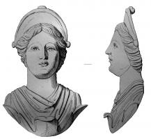 APM-4024 -  *  Applies : bust of Juno&#013 *  Bust- apply the flat back , depicting a woman with classic features , emerging with a finial and topped with a smooth top tiara : Juno ?