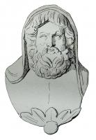 APM-4025 -  *  Applies : bust of Jupiter&#013 *  Bust- apply the flat back , depicting a mature man , bearded, with classic features , emerging from a jewel and head covered with a piece of his garment : Jupiter ?