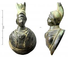 APM-4056 - *  Applies Minerva bust&#013*  Apply in a half -relief bust : the head of Minerva with Corinthian helmet in the up position with a high crest , emerge from a mass rounded relief forms , marked the Gorgon with a flat circular base ;  often iron fastening at the back edge .