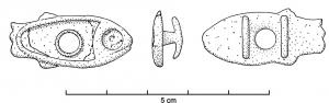 APT-4004 -  *  Vale per tenere la T - tipo C1&#013&#013 *  Provided applies to the reverse T- like 2 , guilloche normally on the outside of the bar , the object is cross drilled and a ring retained by a rear lug folded free plays .  This type represents a fish body and eyes glazed .