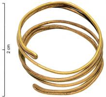 BAG-1002 -  *  Anello doppia spirale&#013&#013 *  Spiral ring formed of a cylindrical wire , welded at the ends to form a loop which was subsequently flattened to produce a double strand wound on 3 turns.
