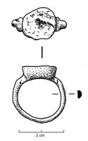 BAG-4158 -  *  ring&#013 *  Signet ring slightly raised sub ​​-circular .  Overdeepened cup flange estinée high enough to receive a cap that can be made of metal .