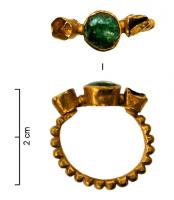 BAG-4175 -  *  Ring three cabochons&#013 *  Ring whose kitten consists of three high cylindrical studs , aligned , the rod heavily beaded on the outside is welded in the two outer studs .