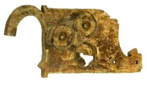 BCG-4024 - *  Loop cingulum&#013&#013*  Rigid plate - loop, a rectangular plate adorned with rosettes , framed indentation zoomorphic motifs in the back ;  the plate is fixed at a loop or beliere not articulated without perforation for the passage of a pin .
