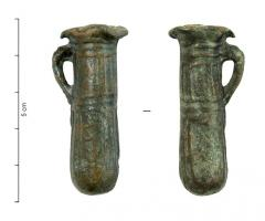 BLS-4075 -  *  Lying part Pot&#013 *  Balsamarium or ointment jar of cylindrical shape , with a single handle , rounded edge functions and spilled , poured vase has a molded vertical inscription : <ICCVW> , or the other way , or MACCI MADDI (probably in Greek letters )  .