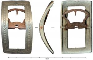 BOC-9008 -  *  Shoe buckle&#013 *  Rectangular bronze buckle ( high proportion of lead ) with tab and buckle in iron crisscross small leaves aligned between beaded lines and a peripheral bead decoration , the reverse inscription BILLY .