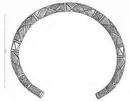 BRC-1003 - Bracelet or torc&#013&#013Bracelet or torc, open, circular section, covered with incised geometric ornaments.