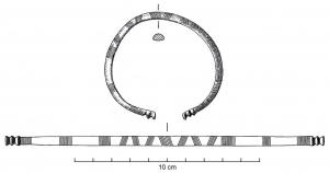 BRC-1004 -  *  Aperto braccialetto Venat genere&#013&#013 *  Open rod hail, subcircular in section semicircular Bracelet , marked by both ends (or rarely three ) transverse grooves , oblique or transverse incisions , but also arches, rafters decor, etc. ... Driven by  series , these bracelets often show a side wear.