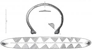 BRC-1128 - Bracelet de section large à bouton&#013bronze&#013Bracelet ouvert de section large et mince, plano-convexe carénée, concavo-convexe ou triangulaire ; bouton facial aux extrémités ; décor d'incisions variées.