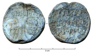 BUL-9075 - Bulla : papal, Innocentius IV&#013&#013 *  Thick lead disc , perforated for the passage of ribbons, and struck in the name of Pope transmitter : on one side , heads schematically Peter and Paul , SPA - SPE , the reverse : INNO / CENTIVS / PP IIII ( Innocent IV , Pope  from 1243 to 1254 ) .