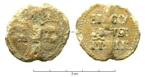 BUL-9083 - Bulla : papal, &#013&#013 *  Thick lead disc , perforated for the passage of ribbons, and struck in the name of Pope transmitter : on one side , heads schematically Peter and Paul , SPA - SPE , the reverse ( Nicolas III , OSB , pope from 1277 to 1280  ) .