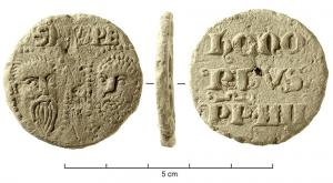 BUL-9085 - Bulla : papal, &#013&#013 *  Thick lead disc , perforated for the passage of ribbons, and struck in the name of Pope transmitter : on one side , heads schematically Peter and Paul , SPA - SPE , the reverse ( Honorius IV , pope from 1285 to 1287 ) .