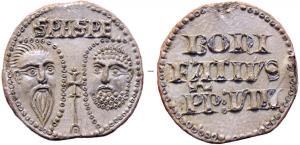 BUL-9088 - Bulla : papal, Bonifatius VIII&#013&#013 *  Thick lead disc , perforated for the passage of ribbons, and struck in the name of Pope transmitter : on one side , heads schematically Peter and Paul , SPA - SPE , the reverse : BONUS / FATIVS / PP.VIII ( Boniface VIII ,  Pope from 1294 to 1303 ) .