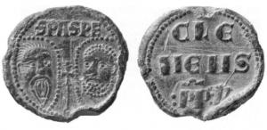 BUL-9090 - Bulla : papal, Clemens V&#013&#013 *  Thick lead disc , perforated for the passage of ribbons, and struck in the name of Pope transmitter : on one side , heads schematically Peter and Paul , SPA - SPE , the reverse : CLE / MENS / PP.V ( Clement V  Pope from 1305 to 1314 ) .