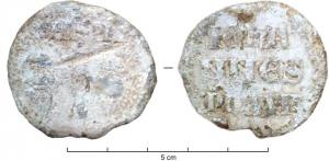 BUL-9091 - Bulla : papal, Johannes XXII&#013&#013 *  Thick lead disc , perforated for the passage of ribbons, and struck in the name of Pope transmitter : on one side , heads schematically Peter and Paul , SPA - SPE , the reverse : IOHA / NNES / PP XXII (John XXII , pope  from 1316 to 1334 ) .