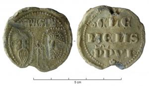 BUL-9093 - Bulla : papal, Clemens VI&#013&#013 *  Thick lead disc , perforated for the passage of ribbons, and struck in the name of Pope transmitter : on one side , heads schematically Peter and Paul , SPA - SPE , the reverse : CLE / MENS / PP VI (Clement VI , OSB  , pope from 1342 to 1352) .