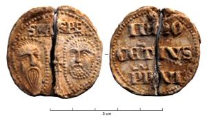 BUL-9094 - Bulla : papal, &#013&#013 *  Thick disc of lead, perforated for the passage of ribbons, and struck for the Pope transmitter : on one side , heads schematically Peter and Paul , SPA - SPE , the reverse ( Innocent VI , pope from 1352 to 1362 ) .