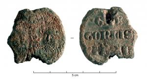 BUL-9096 - Bulla : papal, &#013&#013 *  Thick lead disc , perforated for the passage of ribbons, and struck in the name of Pope transmitter : on one side , heads schematically Peter and Paul , SPA - SPE , the reverse ( Gregory , pope from 1370 to 1378) .