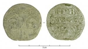 BUL-9097 - Bulla : papal, &#013&#013 *  Thick lead disc , perforated for the passage of ribbons, and struck in the name of Pope transmitter : on one side , heads schematically Peter and Paul , SPA - SPE , the reverse ( Urban VI , pope from 1378 to 1389 ) .