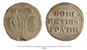 BUL-9098 - Bulla : papal, &#013&#013 *  Thick lead disc , perforated for the passage of ribbons, and struck in the name of Pope transmitter : on one side , heads schematically Peter and Paul , SPA - SPE , the reverse ( Boniface IX , pope from 1389 to 1404 ) .