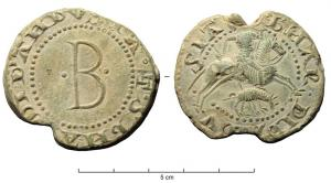 BUL-9122 -  *  Stately bullle Bernard Anduze&#013&#013*  Thick lead disc , perforated for the passage of ribbons, and knock:   A / ( melee cross).  BNA S (R) DI D' ANDVSIA .  / Big B between two points in the field , ( ?) R / D' BNAR.DI DPNB SIA , . Lord horse sounding the horn and spearing a wild boar.