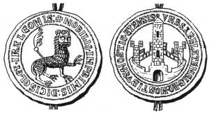 BUL-9134 -  *  Municipal bubble Arles&#013&#013 *  Molded circular bubble : A / lion prepared right, left foreleg lowered to the ground, around , IRA LEONIS Nobilis + + + Medici OLET IN PRIMIS + , R / City Gate , around VRBS • ARELATENSIS AND NOSTIBVS • • • NOSTIS  ETENSIS .