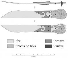 CAC-4001 -  *  Knife sharpening calames&#013&#013 *  Small iron knife , handled bronze or composite ; blade with parallel edges , straight cutting edge , back bends sharply to the edge ; handle organic material (wood) as a shell with two bronze leaf -shaped cut  scrolls.