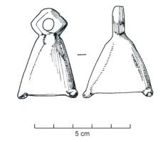 CLT-4002 -  *  bell&#013&#013 *  Bronze Bell ( lead ) , medium size, quadrangular , often at the base 4 small pins as a media.  Variants more or less high , always cast with very softened reliefs, and often apparent vertical seam.  The angles can show a thickening near the base .