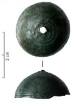 CLT-4011 -  *  bell&#013&#013 *  Bell -shaped single spherical cap at regular profile , decorated with incised circles groups in turn.  The door is iron supensu atop a bronze wire , passed through a small hole , and the outer end probably allows the suspension.