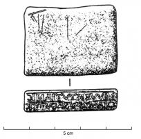 COC-4001 -  *  Stamp oculist&#013 *  Block rectangular flat, thin and polished stone (often soapstone ) , one or up to four narrow faces are inscribed retrograde , often on two lines, indicating the name of a practitioner , medication and its use .