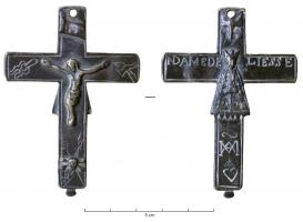 CRF-9012 - *  Crucifix : ND de Liesse&#013*  Double sided crucifix, Christ on one side with the instruments of the passion, the INRI - dssus , skull with crossbones intersecting underfoot ;  on the other side , Virgo a long coat , NDAME DE / LIESSE ;  below , monogram MA , heart .