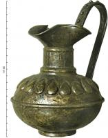 CRU-2006 - Jug&#013&#013 *  Jug with trefoil spout , cylindrical neck and belly symmetrical , consisting of two hulls set; therefore ring , adorned with raised handle bosses .