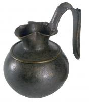 CRU-2007 - Jug&#013&#013 *  Jug with trefoil spout , short neck , belly Subspherical crimped collar shoulder , raised handle formed of two sheets crimped .