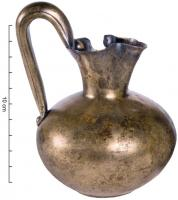 CRU-2009 - Jug&#013&#013 *  Jug hammered one piece , flared spout trefoil on Subspherical belly cervix raised handle formed of two sheets crimped riveted on the body and the neck .