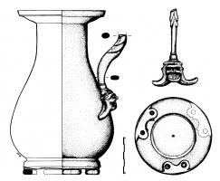 CRU-3003 - Jug, type Kappel- Kelheim&#013&#013 *  Jug rumen piriformis , matelée , bulged downwardly oblique and vertical lip edge ; annular bottom shock protected by three supports reported , and feature two wells drilled form ; handle also reported , molded at the top and provided at the base  a fastener in the form of theater mask with two