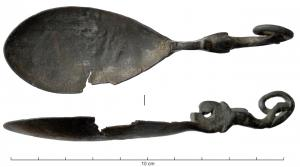 CUI-4029 -  *  Cochlear&#013&#013 *  Spoon oval cuilleron , teardrop , the handle marked a setback with the plane of cuilleron : This location is marked by a scroll that follows the body of a dolphin.