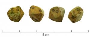 DEJ-4019 - Die : dodecahedral&#013&#013 *  Die dodecahedral , obtained from the slaughtered cube corners , and one face of which carries a label on two oculés of points, from 1 to 6.