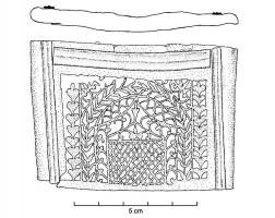 EPE-4034 - *  Mainz -type sword scabbard Entree&#013&#013*  Bronze Tole Repliee forming a thin quadrangular sheath.  One side has a decor in interrasile opus openwork or vegetated .