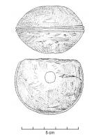 EPE-4036 - *  Pommel of Mainz type sword&#013&#013*  Ovoid shaped head pierces right through a circular transverse hole .  The center of the object usually has a decor trim all around .