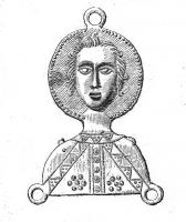 ESP-7036 - *  Teaches pilgrimage : Saint Quentin&#013&#013*  Teaches shaped bust face, the head completely detached on a halo ;  deacon suit, Quentin is included in his martyrdom , the nails pierced shoulders ;  three mounting rings at the top and bottom corners anx .