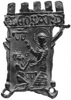 ESP-7056 -  *  Iscriviti pellegrinaggio : San Leonardo de Noblat&#013&#013 *  Teaches shaped tower embattled : St. Leonard standing right , crowned and blessed agenoulé a prisoner before him, hanging on the wall obstacle , another ground ; inscription on the battlements : S: LEONARD .