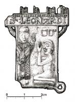 ESP-7073 -  *  Sign pilgrimage : St. Leonard de Noblat&#013&#013 *  Teaches shaped tower embattled : St. Leonard standing left , crowned and blessed agenoulé a prisoner before him, hanging on the wall obstacle , another ground ; inscription on the battlements : St: Leonardi .